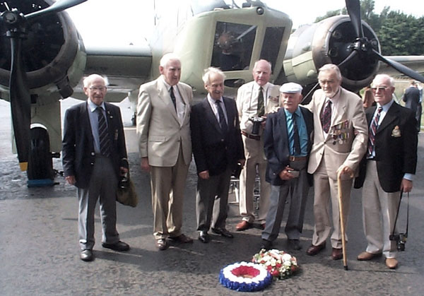 Men of 21 Squadron at RAF Watton 2000 From left to right: Bob Wollet, Philip Felton, I beg his pardon but I donít know his name, Peter Meston, Leo Lightfoot, Peter Sarll and Stan Shiels