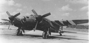 A 25th Bomb Group Mosquito on the flightline at RAF Watton