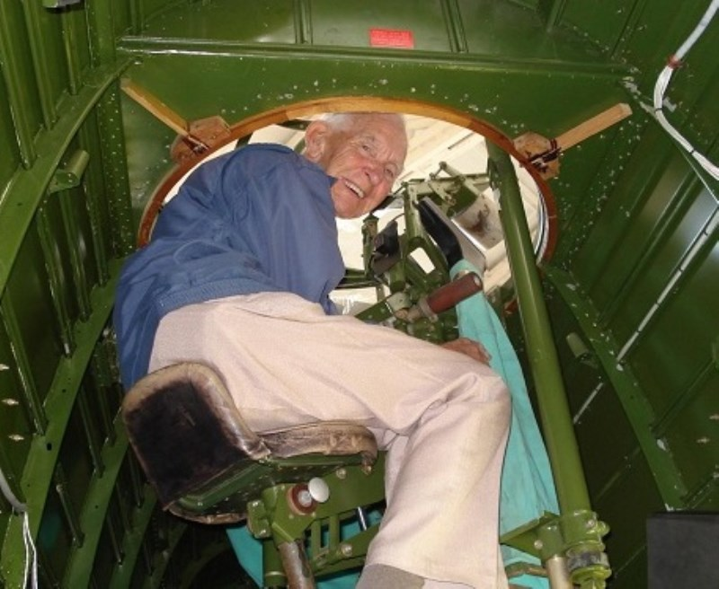 Jack Bartley in his 90's revisits the turret of a Blenheim - a place where he almost died