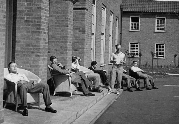 Officers of 21 Squadron relaxing outside the Officers Mess at Watton. This is probably September 1939 and comes from the personal album of Hugh Dunford-Wood who was killed on ops over Dunkirk
