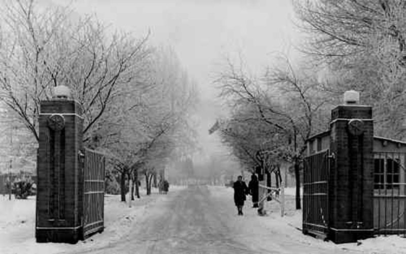 The main gate at RAF Watton in the winter of 1963