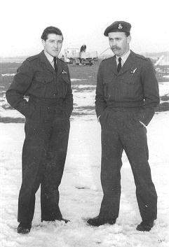 Flying Officer Ralph Swift and Flight Lieutenant Don Sleven, Taken outside the crew room of 527 Squadron on the Griston side of RAF Watton airfield December 6th 1954.