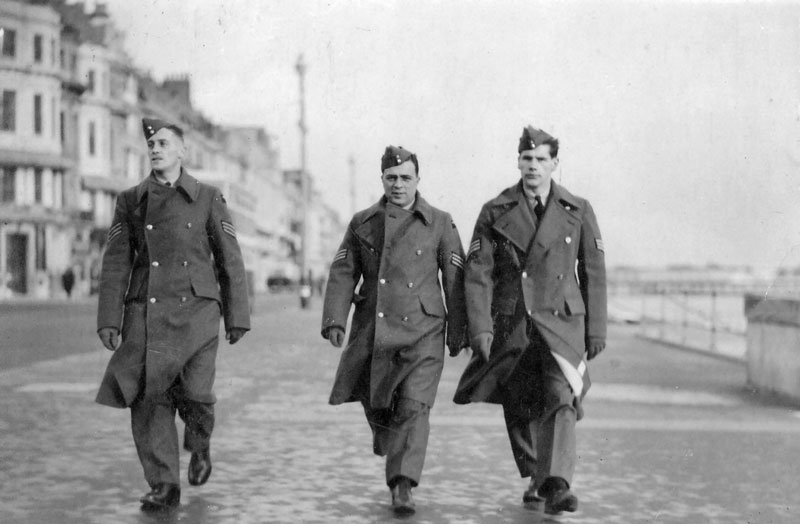 Ian Overheu, Joseph Phelps and Reg Leavers visiting the seaside (Blackpool?) on a cold and windy day. From Peggy Stanton via Michael Abbot