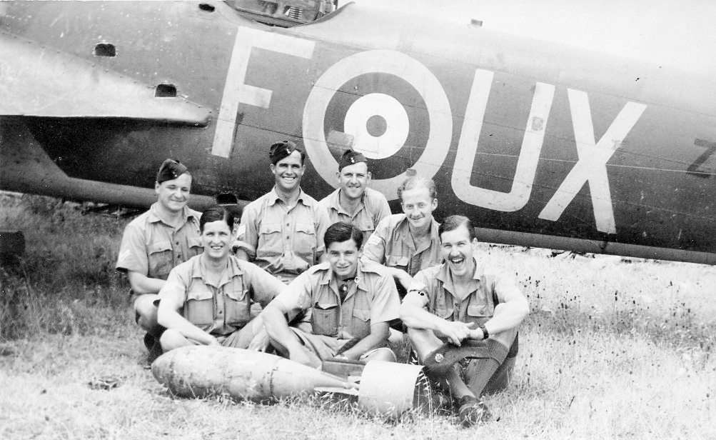 John Hadland - front right - with unknown others and their(?) 82 Squadron Blenheim F for Freddie probably in Malta
