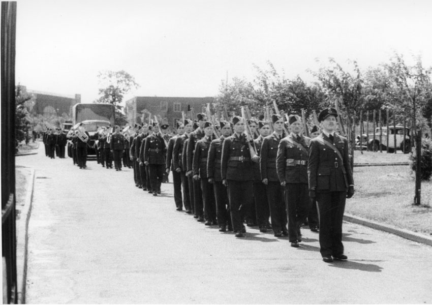 Burial Party approach main gates of RAF Watton. Burial took place on 11 July 1942