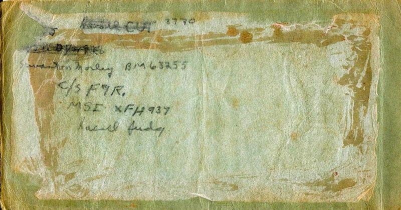 Bob Carey's signals book, left hand side, with recall codeword 'Judy' (Bob Carey)
