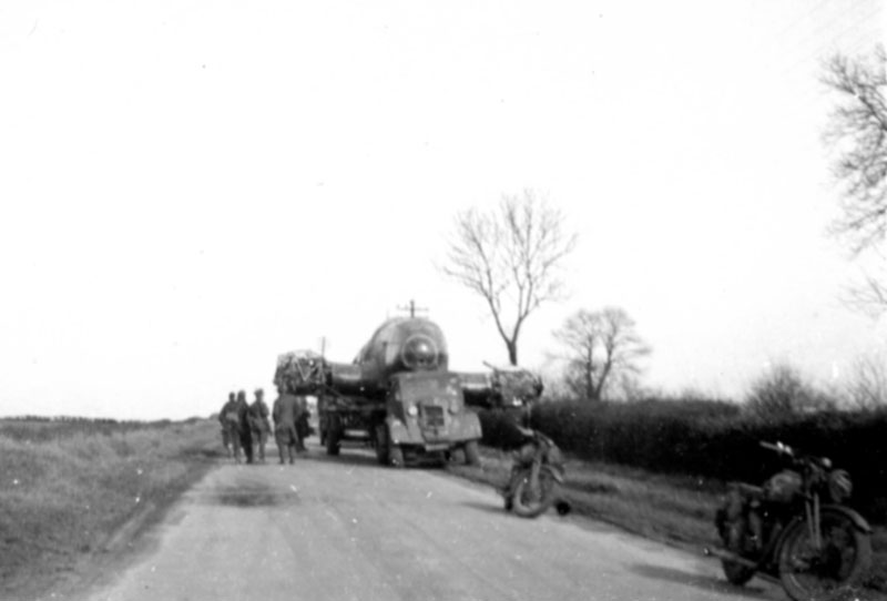 A few days after being brought down, local Jack Sample came across the convey taking the HE111 away