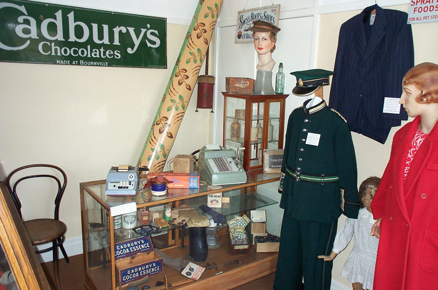 The Watton Room with exhibits form shops in the town and the uniform a a member of Watton Brass Band