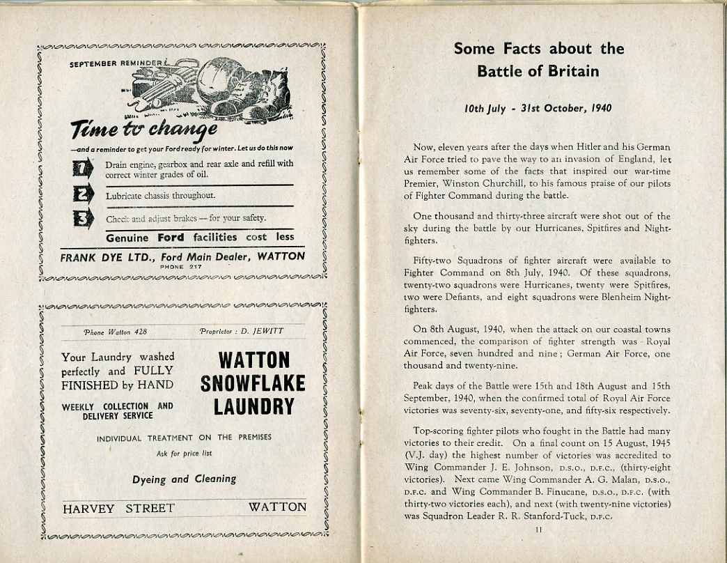 Commemoration of the Battle of Britain Saturday, 15th September, 1951