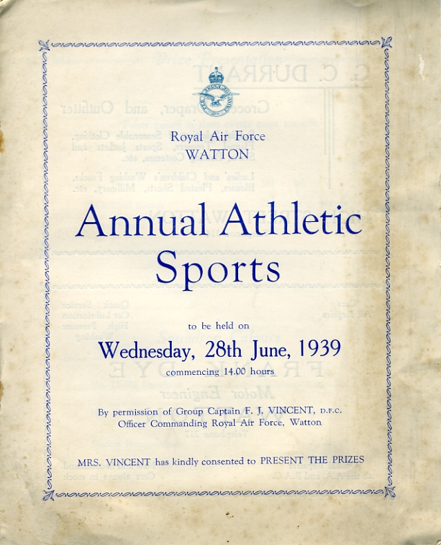 RAF Watton Annual Sports Programme for Wednesday, 28th June 1939