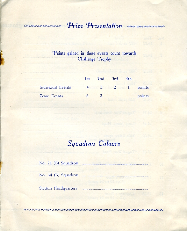 Sports Day Programme, 28th June 1939  Page 3