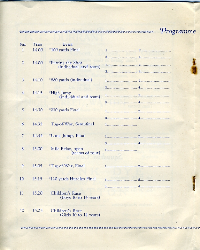 Sports Day Programme, 28th June 1939  Page 4