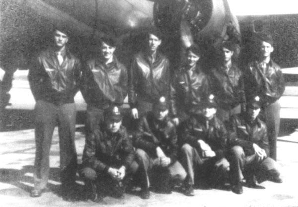 Raymond and crew at RAF Watton 1944. Front row right to left: Pilot Raymond Stephenson, Co-Pilot Joseph Ward, Navigator Eugene Swiatnicki, unidentified. Back row left to right: Engineer Eral Westerholm, Gunner Leonard Licurse, Radio Operator Joseph Minery, Gunner Keith Clinton, two unidentified.
