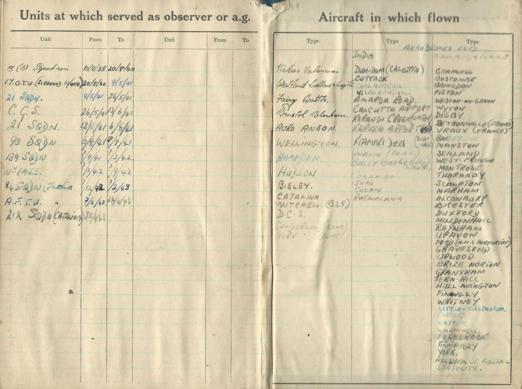 Bob's end pages in his logbook - Units where he served and Aircraft flown.