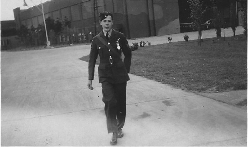 A proud moment for Bob as he strides out after being awarded his DFM in 1940 (Bob Hunter [son])