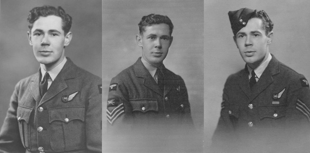 Bob Hunter progressing through the ranks and decorations. From Left to Right: LAC WOp/AG, Sgt WOp/AG, to Sgt WOp/AG with coveted DFM (Bob Hunter [son])